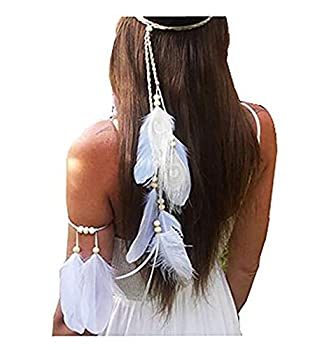 Set of 2 Women Lady Bohemian White Peacock Feather Headband Headdress and Armband Hippie Headpiece Headwear Handmade Tribal Indian Fascinator Feather Hairband Wedding Accessories