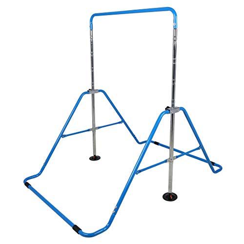 Hyner Faltbare Teleskop-Gymnastikstange Höhenverstellbar Gymnastik Horizontal Bar Fitness Kletterturm Home Gym für Kinder, blau