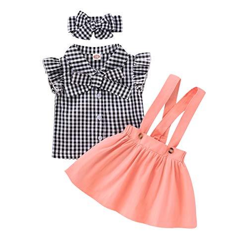 Haoakaini Babykleding Set Pak Geruite Overhemd + Jarretelrokje + Hoofdband Voor Peuter