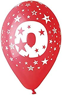 1 Sachet de 10 Ballons de Baudruche - Chiffre 0 - Multicolore - 30 cm