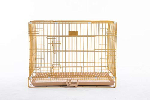 """HOMEY PET INC 24"""" to 48"""" Dog Cat Rabbit Wire Crate with Tray and Optional Floor Grid (w/Grid, 30""""-Gold) Categories"""