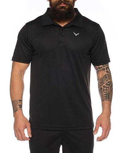 Raff & Taff Polo Shirt Fitness Shirt hochwertiges Atmungaktives Funktionsshirt T-Shirt Freizeit Shirt (Schwarz, 3XL)