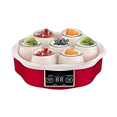 ELXSZJ XTZJ Máquina Fabricante de Yogurt LCD Máquina de Fabricante de Yogurt con 7 frascos de Vidrio 48 oz, Control de Temperatura, Temporizador de Apagado automático, Acero Inoxidable, 15W