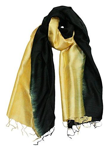Exklusiv Seidenschal Pure Silk ca. 180 cm x 75 cm zweifarbig Comb 1, Farbe Schals:black/yellow (28)