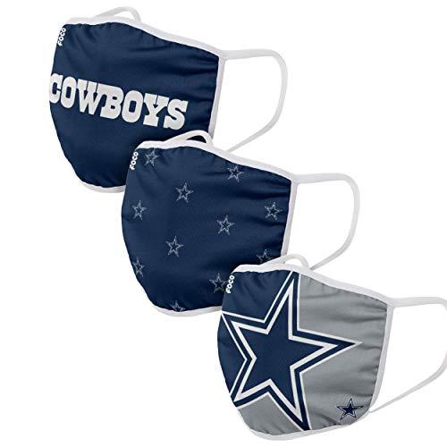 NFL Team 3-Pack Gesichtsabdeckung, Dallas Cowboys