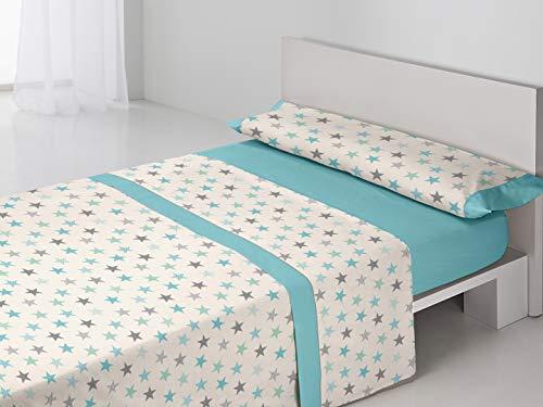 BAILARINA- Juego sábanas Valeria. 3 Piezas Cama de 135 cm: Bajera (135x190/200 cm) + Encimera (210x270 cm) + Funda Almohada (45x155 cm) 50% Algodón - 50% Poliéster de 144 Hilos. Color Azul