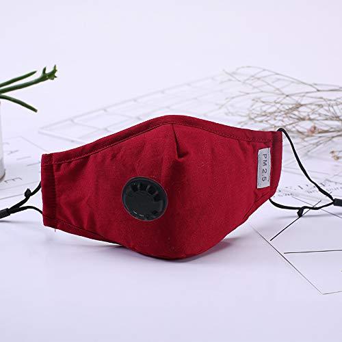 Nyyi Mondmasker, herbruikbaar, stofdicht gezichtsmasker met ademventielen, fietsmaskers voor mannen en vrouwen Rood,Met 2 filters