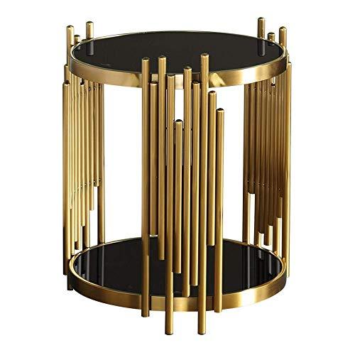 Home&Selected meubels/Nordic Gehard Glas Bijzettafel Woonkamer Goud RVS Mini Kleine Ronde Tafelbank Hoek Tafel Balkon Koffietafel, 15.7