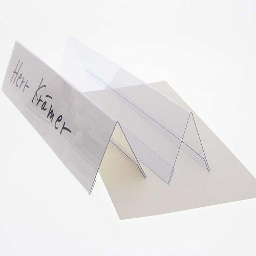 25x Tischschilder, Faxland Namensschilder groß, 25x6 cm, Plastik Karton weiß blanko zum selbstbeschriften