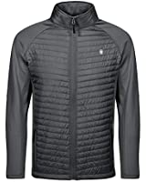 Little Donkey Andy Men's Insulated Running Warm Jacket, Thermal Hybrid Hiking Jacket, Lightweight Breathable Gray Size L
