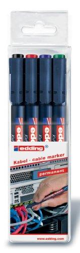 edding 4-8407-4 Kabelmarker 8407, 0.3 mm, sortiert