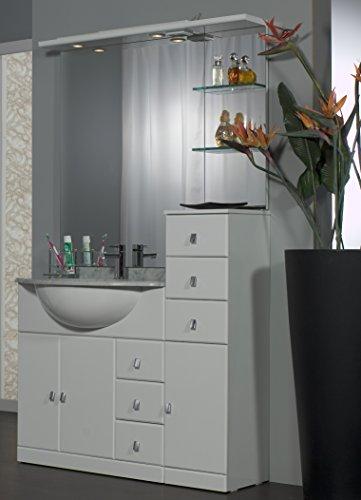 Bagno Italia Mobile Arredo Bagno cm 80+30 con lavabo sottopiano Bianco Lucido Ante cassetti con Specchio e tettino Mobili 1 l