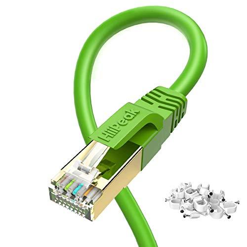 HiiPeak Lan Kabel Cat8 Netzwerkkabel mit 40 Gbit/s Ethernet Geschwindigkeit und 2000 MHz Betriebsfrequenz, RJ45 Kabel mit vergoldeter Anschlüsse, Grün 1m