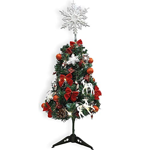 Small Artificial Christmas Tree Combo Set - Approx. 24' Pine Xmas Tree with 1 Strand of Lighted Garland and 42 Mini Ornaments-1 White Glitter Snowflake Topper - 200+ Hours for LED Lights