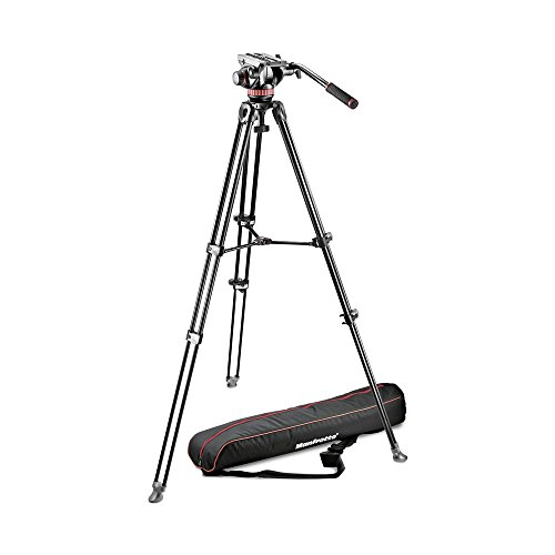 Manfrotto MVK502AM-1 Professional Fluid Video System Aluminum Tripod with Telescop...