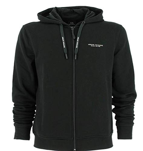 Armani Exchange Herren Everyday French Terry Hoodie Kapuzenpullover, Schwarz (Black 1200), Large (Herstellergröße:L)