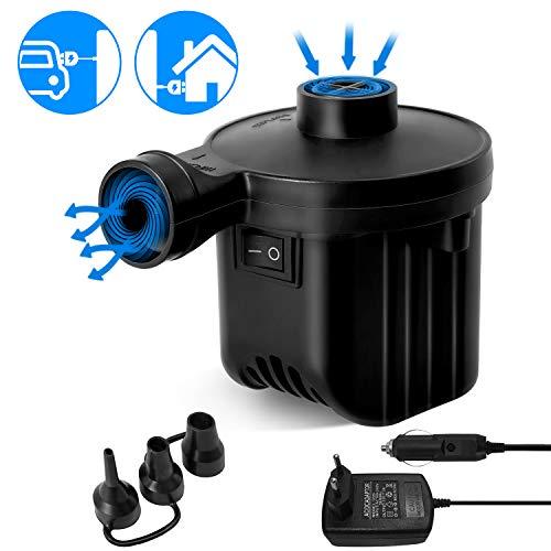WEARXI Elektrische Luftpumpe - Luftpumpe Elektrisch Matratze, Elektrischer Pumpe Matratze, 2 in 1 Power Pump Inflator Deflator, Elektropumpe mit 3 Luftdüse für Luftmatratze, Aufblasbare, Schwimmringe