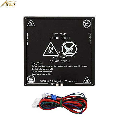 Anet A8 A6 A3 Aluminum 12V Hotbed with Hotbed Wire Cable Line for for Anet A8 A6 3D Printer, Black 220x220mm