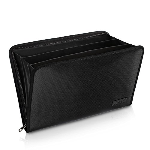 """Expanding File Folder Important Document Organizer Fireproof and Waterproof Document Bag with A4 Size 3 Pockets Zipper Closure Non-Itchy Silicone Coated Portable Filing Wallet Pouch(14.3"""" x 9.8"""")"""