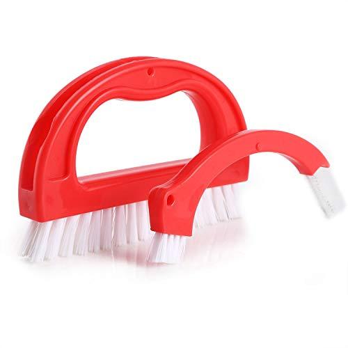 HVTKL Reiniger Bürste Fliesen Joint Reinigungsbürste Scrubber Brush mit Nylon Borsten für Duschböden (Color : Color Red)