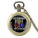 Heroes Live Among Us Policía, Fuego, EMS Reloj de bolsillo de cuarzo vintage para hombres y mujeres, colgante de cúpula de cristal