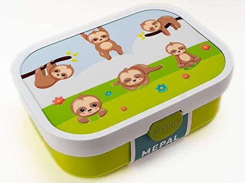 Brotdose für Kinder mit Namen und Bento - Einsatz BPA-frei Brotdose Lunchbox Motiv Faultier