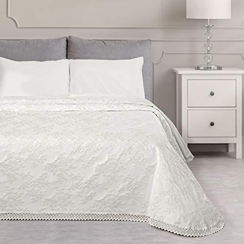 GLShabby Copriletto Matrimoniale Jacquard Shabby Chic Cotone con Pizzo Colore Bianco 260x260