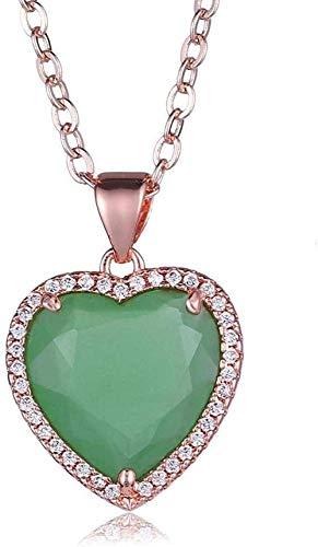 huangshuhua Collares Pendientes de Piedra para Mujer Collar Colgante de Cristal de Diamantes de imitación Verde pálido Envuelto en Piedras Preciosas Naturales Collar Colgante de Cristal Verde pálido