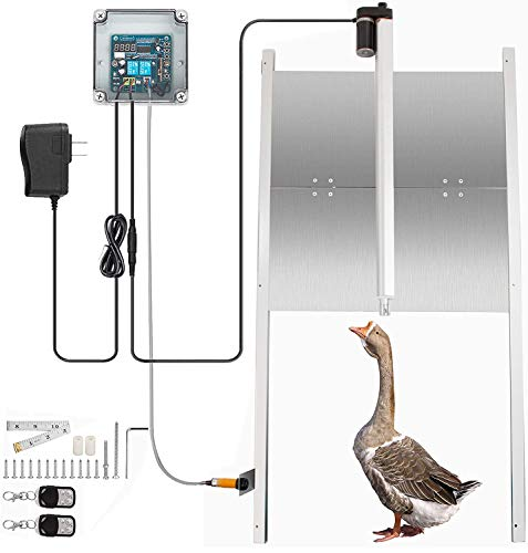 LOVSHARE Automatic Chicken Coop Door with Timer (Morning Open and Evening Close), Including 12V DC Motor Opener, 19.7' x 18.7' Aluminum Door Kit, Infrared Sensor for Emergency Stop, 2 Remote Controls