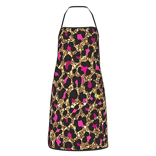 Delantal de cocina para mujeres hombres con bolsillos oro púrpura leopardo sexy delantales chef cocina hornear jardinería barbacoa parrilla pintura negro