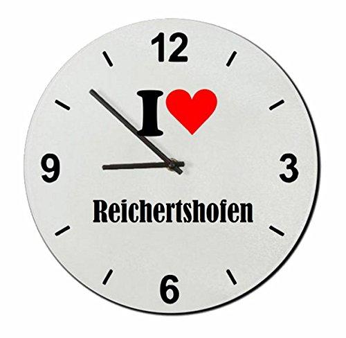 Druckerlebnis24 Glasuhr I Love Reichertshofen eine tolle Geschenkidee die von Herzen kommt| Wanduhr| Geschenktipp: Weihnachten Jahrestag Geburtstag Lieblingsmensch