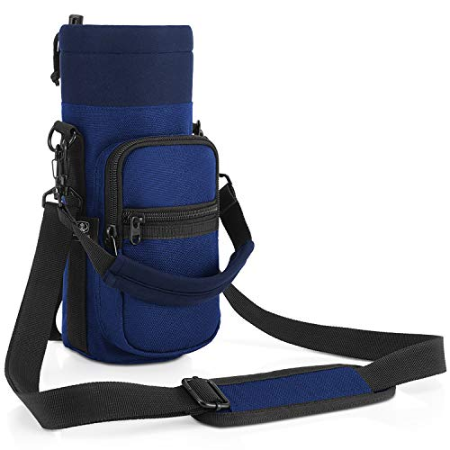 Water Bottle Carrier, Barbarians Bottle Pouch Holder with Adjustable Shoulder/Hand Strap 2 Pockets for Swell Type Bottle 16oz 17oz 20oz 24oz 25oz 32oz 40oz, Suitable for Hiking Travel Camping Blue