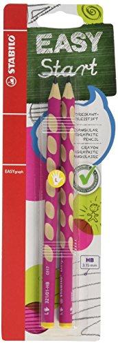 Ergonomischer Dreikant-Bleistift für Linkshänder - STABILO EASYgraph in pink - 2er Pack - Härtegrad HB