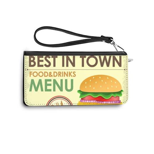 Carteras de Mujer Monedero Largo de Cuero Fast Food Menu Design with Hamburger in Cartoon stylePU de Moda Cartera con Tarjetero para Mujer Organizar One Size