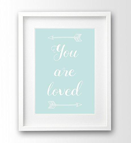 Babyzimmer Bild ungerahmt A4, türkis mint, you are loved Deko Pfeile