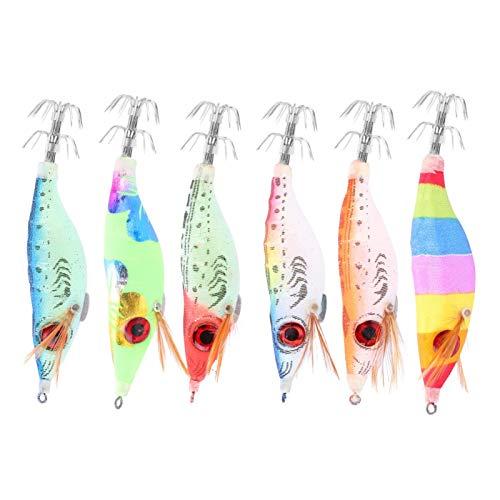 Pwshymi Räka bete lysande fiskedrag bläckfisk jigg krok fiskbete konstgjort träbete