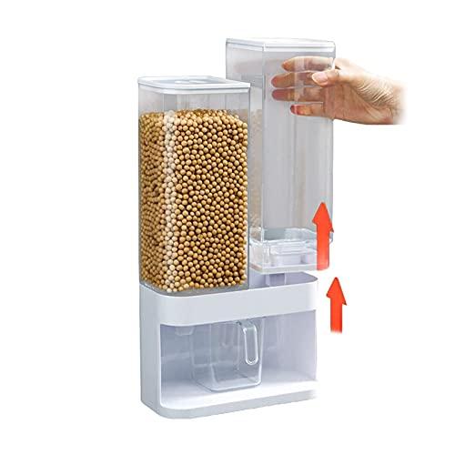 Dispensador de alimentos secos montados en la pared Dispensadores de cereales de 2 rejillas para mijo, arroz negro, alimentos para mascotas, granos de café, perlas de olor de lavandería, polvo deterge