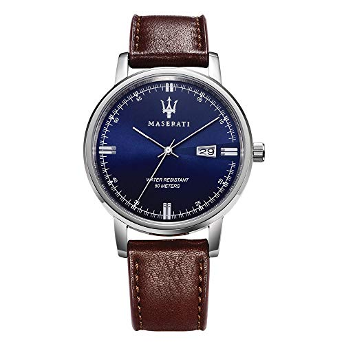 Orologio da uomo, Collezione Eleganza Maserati, movimento al quarzo, tempo e data, in acciaio e cuoio - R8851130003