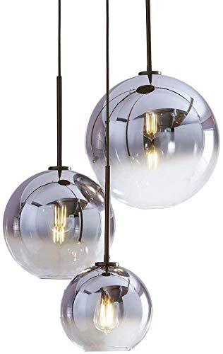 CHUIX De Diseño Moderno Ronda Lámpara Colgante Lámpara De Mesa De Pantalla De Cristal Degradado, Salón Comedor Lámpara De Luz Sombra De Iones De Plata Bola De Cristal Titular De Rosca E27,20cm