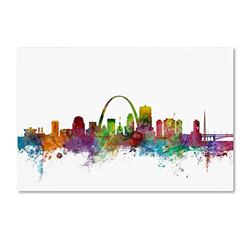 St. Louis Missouri Skyline by Michael Tompsett, 12x19-Inch Canvas Wall Art