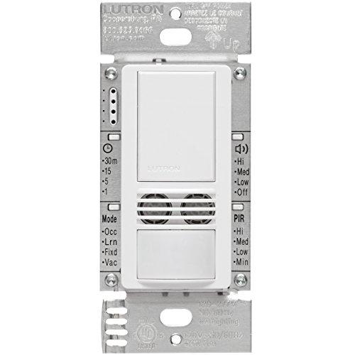 Lutron MS-B102-WH Maestro 6-Amp 3-Way/Multi-Location Dual Tech Occupancy Sensor Switch, White