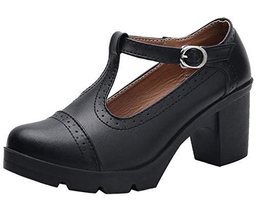 PPXID Damen Pumps Mary Jane Halbschuhe T-Strap Plateau Blockabsatz Oxfords Klassiker Kleid Schuhe, Schwarz, 37 EU