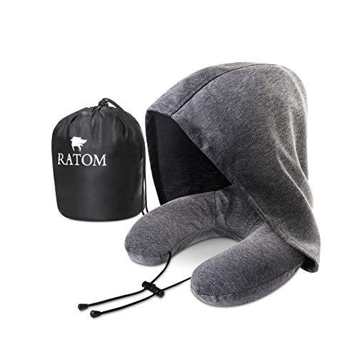 [RATOM] ネックピロー 低反発 昼寝枕 携帯枕 旅行 大きなフードで寝顔気にせず睡眠
