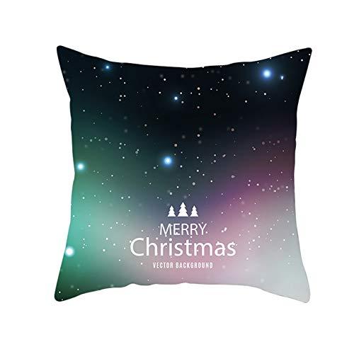 Aimsie Fundas de cojín, diseño navideño con cielo estrellado, poliéster y algodón, 45 x 45 cm, color negro