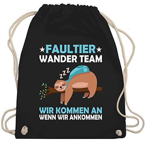 Shirtracer Sprüche - Faultier Wander Team - Unisize - Schwarz - turnbeutel wandern - WM110 - Turnbeutel und Stoffbeutel aus Baumwolle