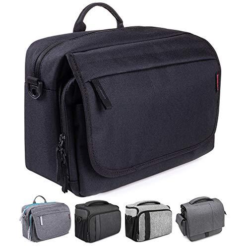 Bodyguard SLR Messenger Bag Photo Bag SLR para cámaras DSLR y accesorios, bolso negro - acolchado con bandolera y muchos compartimentos para 2-3 lentes y más.