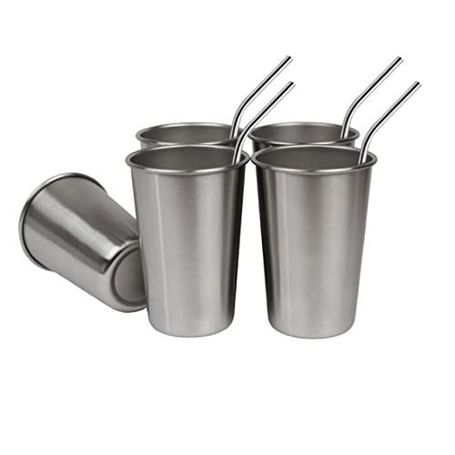 Bundle: Set of 5, 16 Oz Premium Stainless Steel Cups and FREE Straws, Eco-friendly BPA and Lead Free Cups Perfect for Camping Outdoors and Everyday Use Indoors. Includes Bonus Straw Cleaner