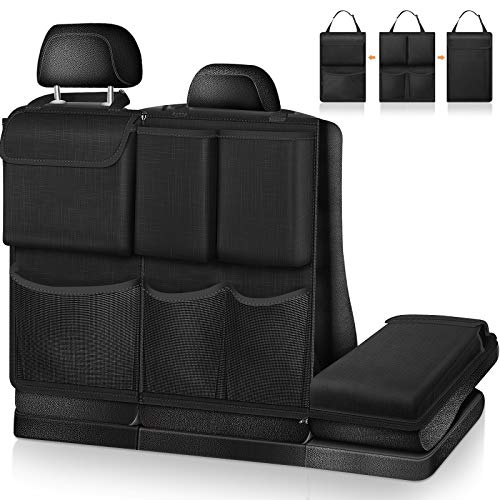 FINPAC Auto Rücksitz Organizer Kofferraum Organizer Auto - abnehmbare Auto Rückenlehnenschutz mit großer Kapazität Taschen für Frachtzubehör für Kinder für SUV, Minivan, Jeep, Schwarz/Schwarz