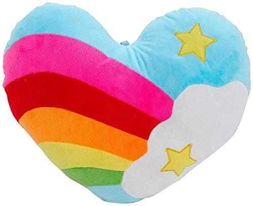 Longsheng - Cuscino a forma di cuore arcobaleno a forma di cuore, in peluche a forma di arcobaleno, cuscino a forma di cuore, cuscino per divano e sedia