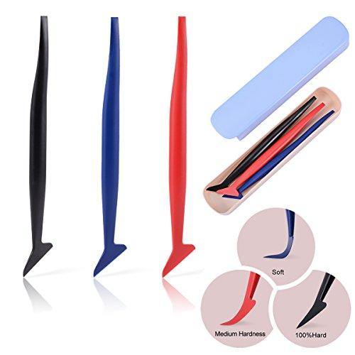Ehdis 3 in 1 Car Wrapping Micro Squeegee Set Pellicola per vetri con diversa durezza Adatta per Pellicola Wrapping, vetri oscurati Auto, Pellicola vetri Auto, Pellicola Carbonio